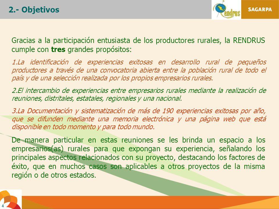 4 Gracias a la participación entusiasta de los productores rurales, la RENDRUS cumple con tres grandes propósitos: 1.La identificación de experiencias