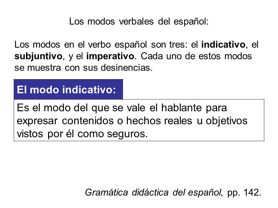 Los modos verbales del español: Los modos en el verbo español son tres: el indicativo, el subjuntivo, y el imperativo. Cada uno de estos modos se mues