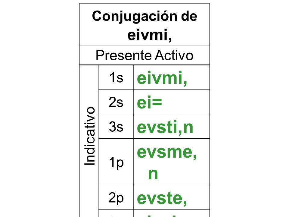 Conjugación de eivmi, Presente Activo 1s eivmi, 2s ei= 3s evsti,n 1p evsme, n 2p evste, 3p eivsi,n Indicativo
