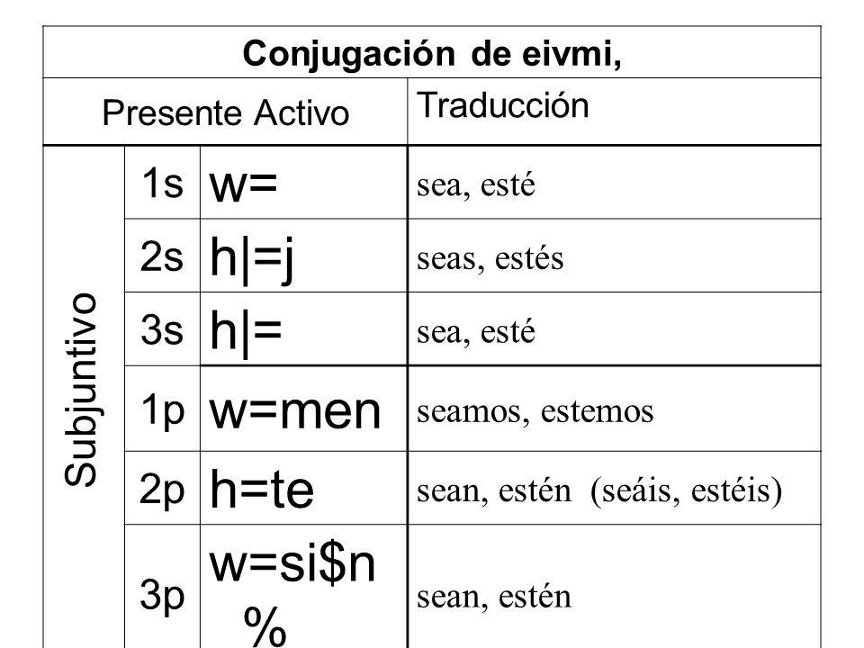 Conjugación de eivmi, Presente Activo Traducción 1s w= sea, esté 2s h|=j seas, estés 3s h|= sea, esté 1p w=men seamos, estemos 2p h=te sean, estén (seáis, estéis) 3p w=si$n % sean, estén Subjuntivo