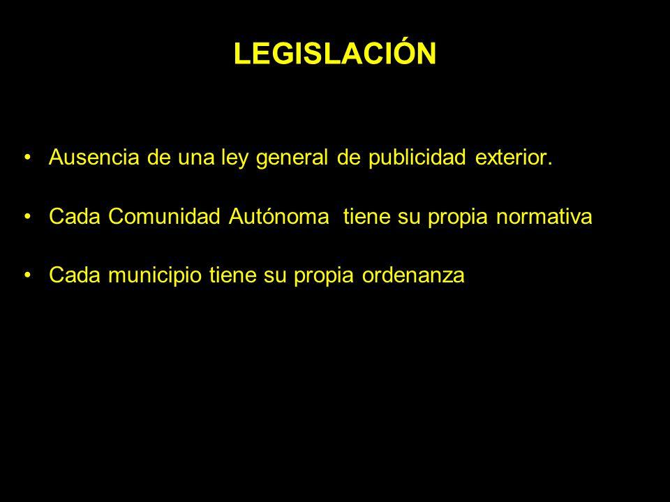 LEGISLACIÓN Ausencia de una ley general de publicidad exterior. Cada Comunidad Autónoma tiene su propia normativa Cada municipio tiene su propia orden
