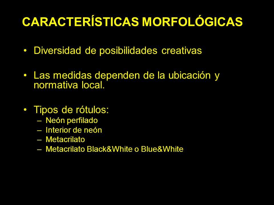 CARACTERÍSTICAS MORFOLÓGICAS Diversidad de posibilidades creativas Las medidas dependen de la ubicación y normativa local.
