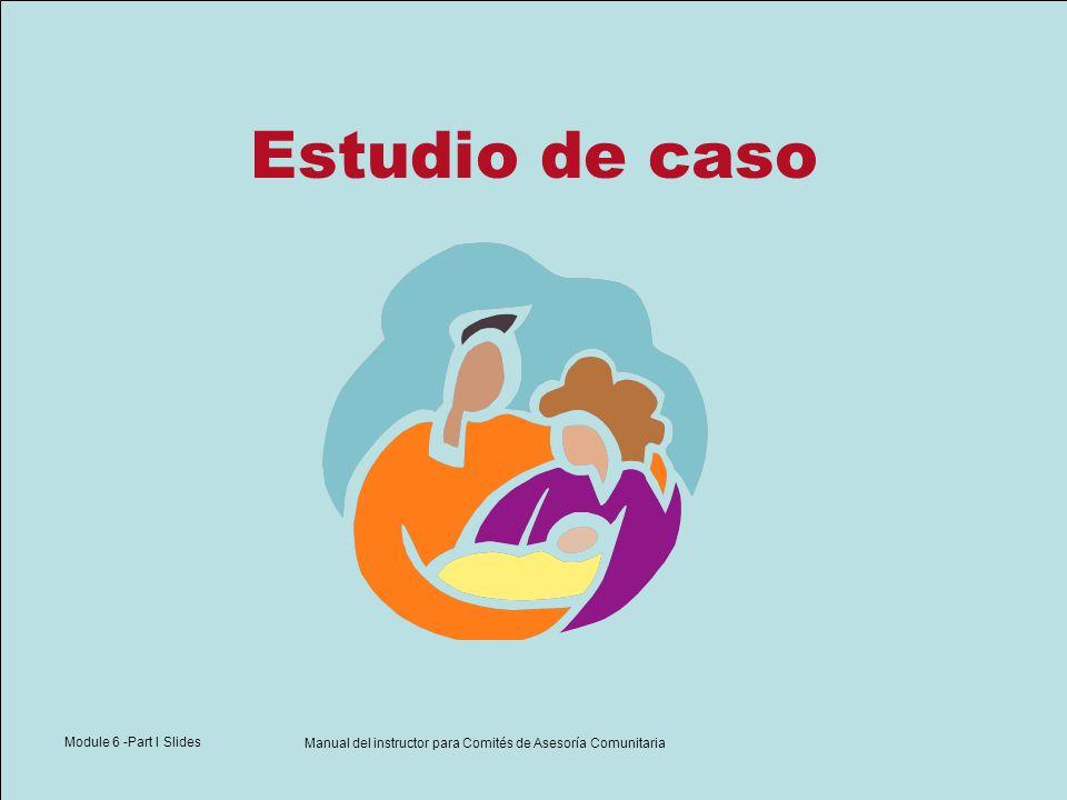 Module 6 -Part I Slides Manual del instructor para Comités de Asesoría Comunitaria Estudio de caso