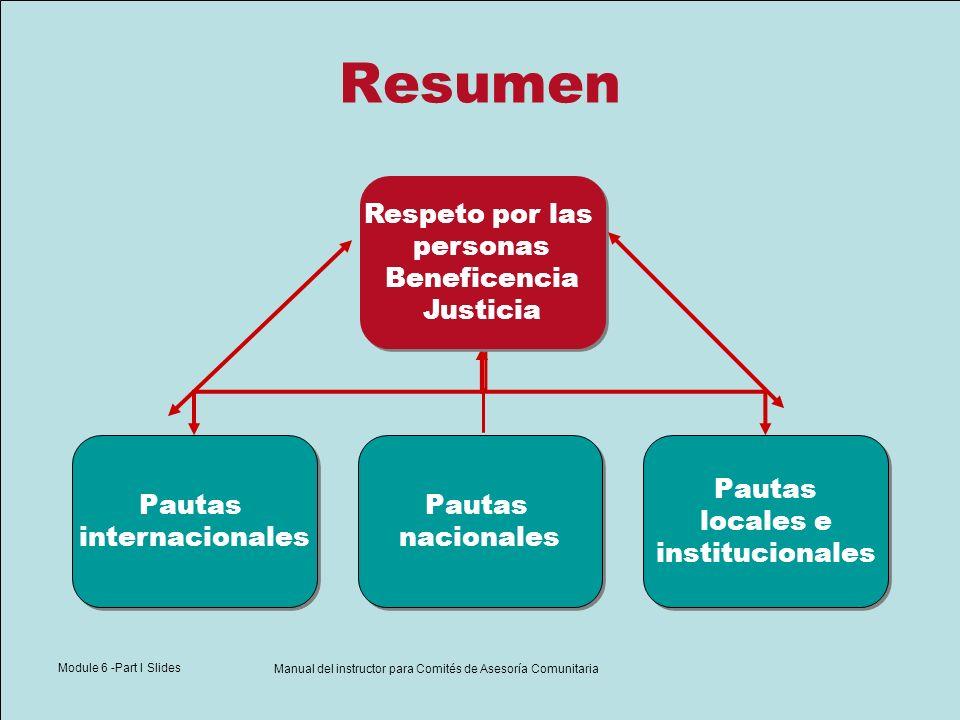 Module 6 -Part I Slides Manual del instructor para Comités de Asesoría Comunitaria Resumen Respeto por las personas Beneficencia Justicia Respeto por