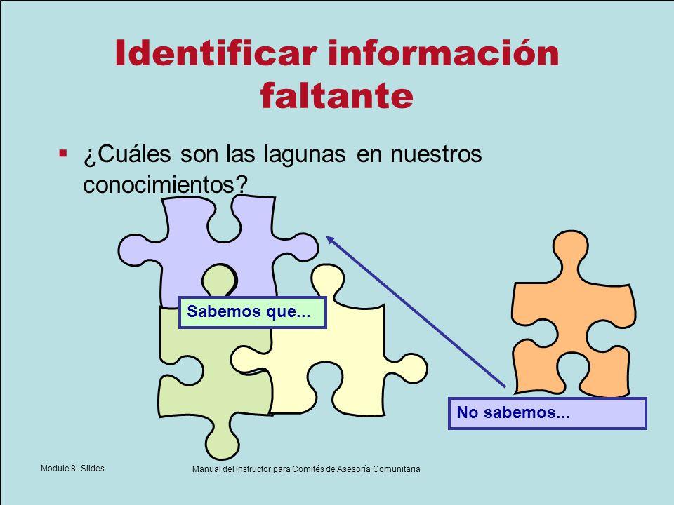 Module 8- Slides Manual del instructor para Comités de Asesoría Comunitaria Identificar información faltante ¿Cuáles son las lagunas en nuestros conoc