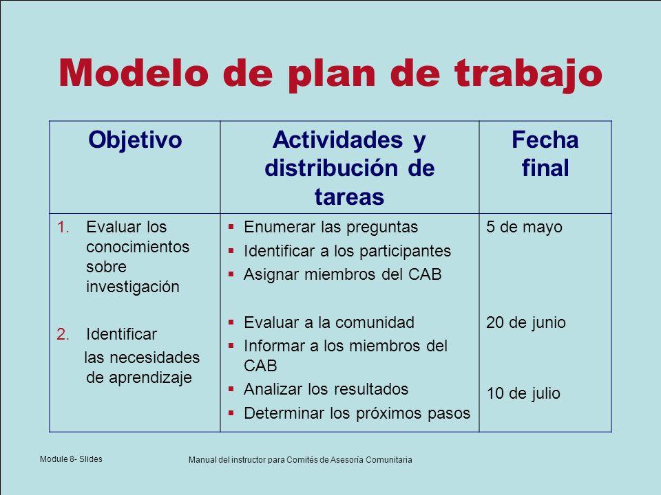 Module 8- Slides Manual del instructor para Comités de Asesoría Comunitaria Modelo de plan de trabajo ObjetivoActividades y distribución de tareas Fec