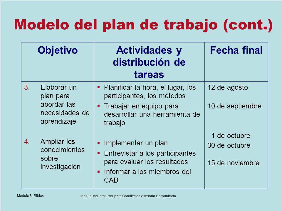 Module 8- Slides Manual del instructor para Comités de Asesoría Comunitaria Modelo del plan de trabajo (cont.) ObjetivoActividades y distribución de t