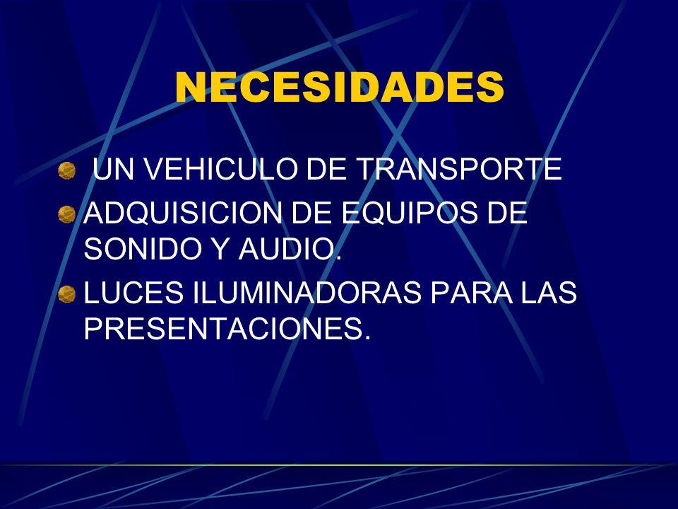 NECESIDADES UN VEHICULO DE TRANSPORTE ADQUISICION DE EQUIPOS DE SONIDO Y AUDIO. LUCES ILUMINADORAS PARA LAS PRESENTACIONES.