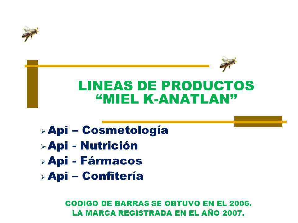 Api – Cosmetología Api - Nutrición Api - Fármacos Api – Confitería CODIGO DE BARRAS SE OBTUVO EN EL 2006. LA MARCA REGISTRADA EN EL AÑO 2007. LINEAS D