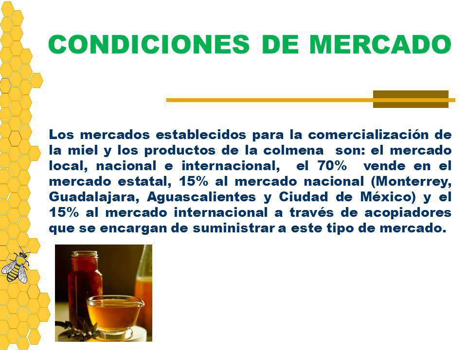Los mercados establecidos para la comercialización de la miel y los productos de la colmena son: el mercado local, nacional e internacional, el 70% ve