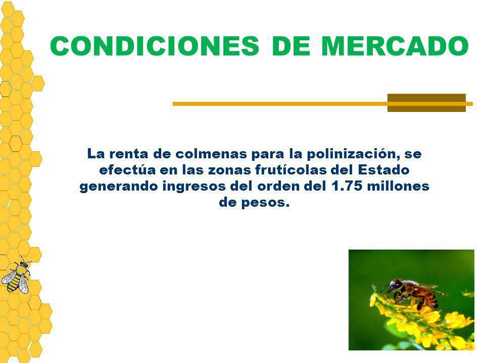 La renta de colmenas para la polinización, se efectúa en las zonas frutícolas del Estado generando ingresos del orden del 1.75 millones de pesos. COND