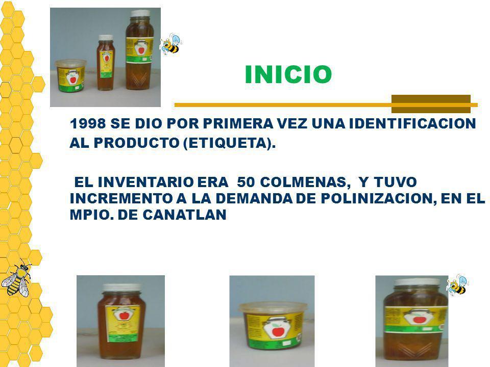 1998 SE DIO POR PRIMERA VEZ UNA IDENTIFICACION AL PRODUCTO (ETIQUETA). EL INVENTARIO ERA 50 COLMENAS, Y TUVO INCREMENTO A LA DEMANDA DE POLINIZACION,
