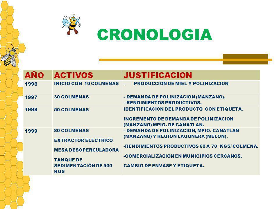 CRONOLOGIA AÑOACTIVOSJUSTIFICACION 1996 INICIO CON 10 COLMENAS - PRODUCCION DE MIEL Y POLINIZACION 1997 30 COLMENAS - DEMANDA DE POLINIZACION (MANZANO