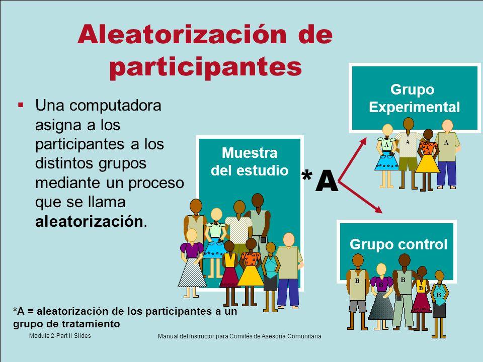 Module 2-Part II Slides Manual del instructor para Comités de Asesoría Comunitaria Aleatorización de participantes Una computadora asigna a los partic