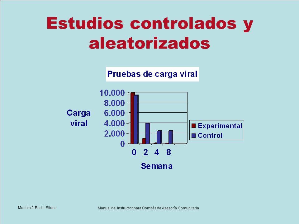 Module 2-Part II Slides Manual del instructor para Comités de Asesoría Comunitaria Estudios controlados y aleatorizados