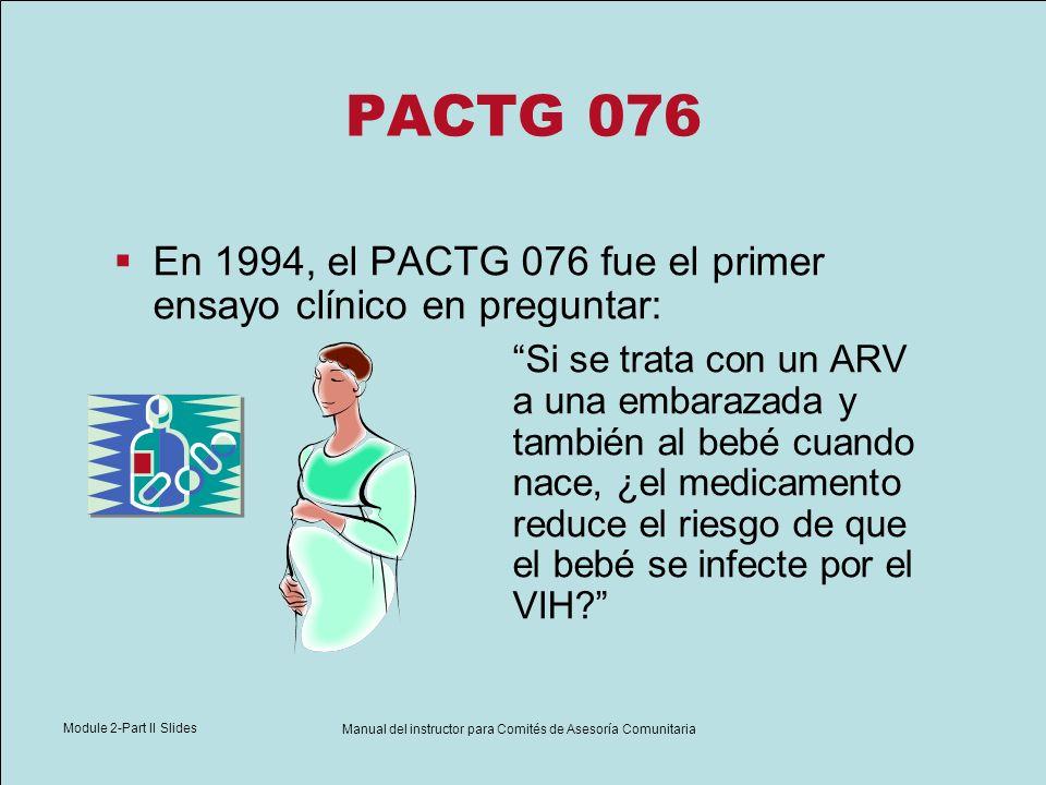 Module 2-Part II Slides Manual del instructor para Comités de Asesoría Comunitaria PACTG 076 En 1994, el PACTG 076 fue el primer ensayo clínico en pre