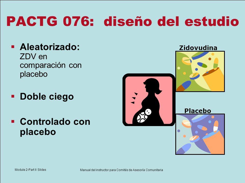 Module 2-Part II Slides Manual del instructor para Comités de Asesoría Comunitaria PACTG 076: diseño del estudio Aleatorizado: ZDV en comparación con