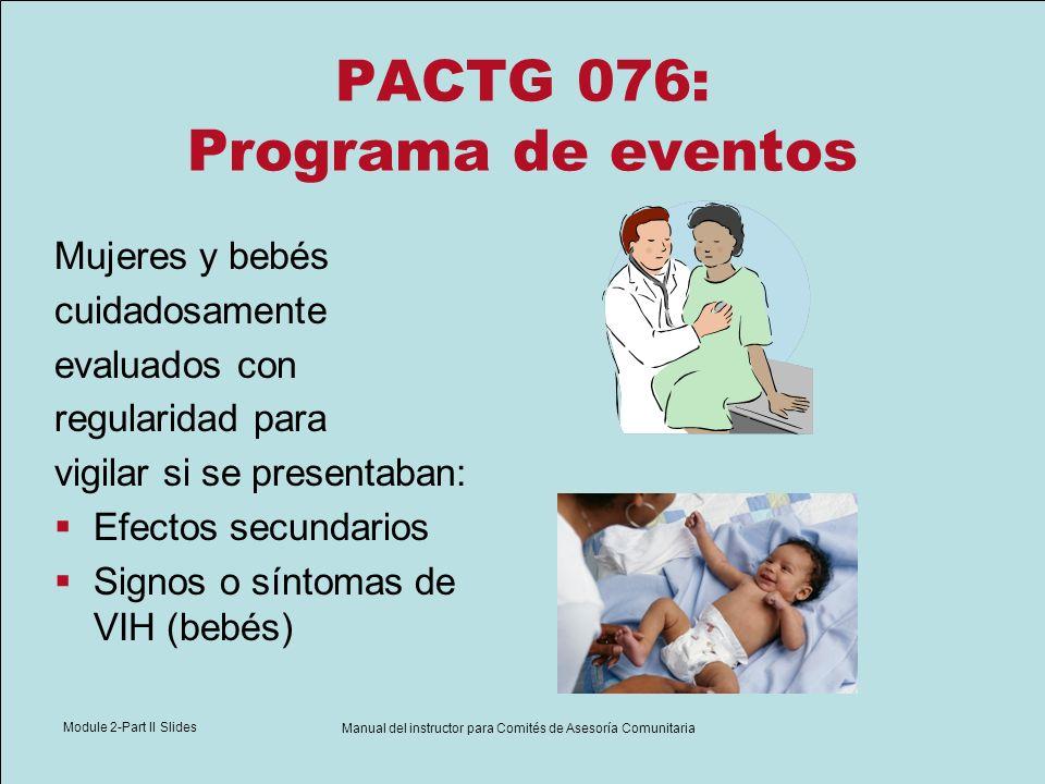 Module 2-Part II Slides Manual del instructor para Comités de Asesoría Comunitaria PACTG 076: Programa de eventos Mujeres y bebés cuidadosamente evalu