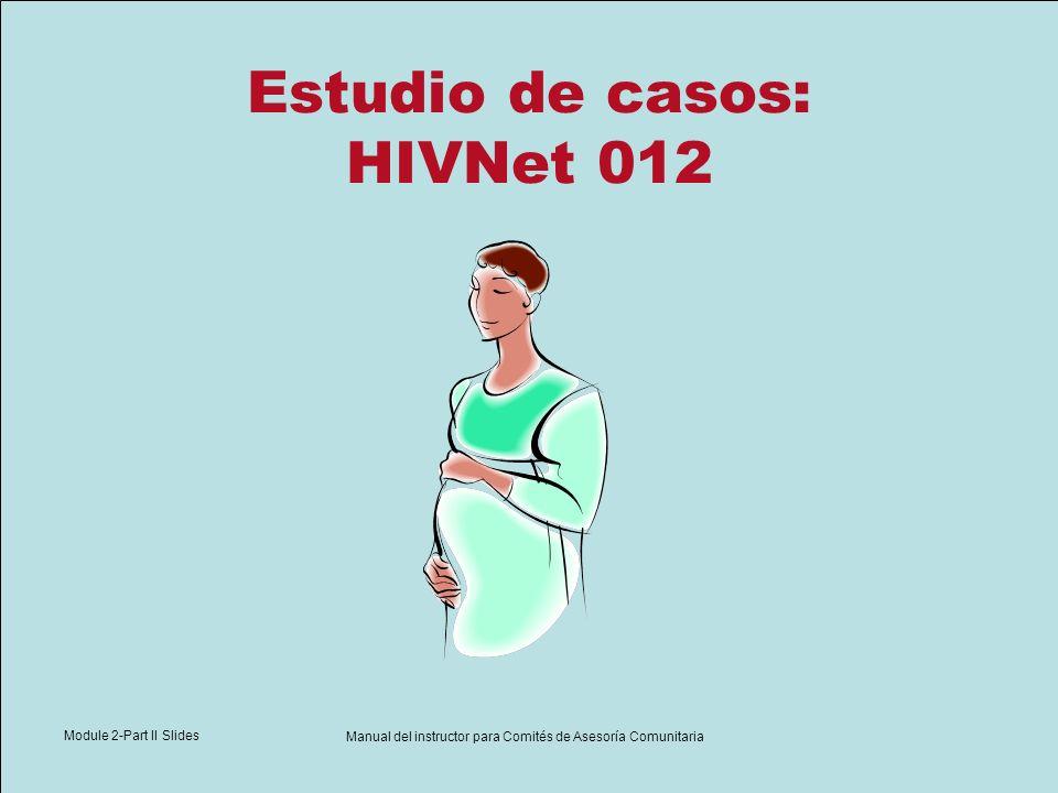 Module 2-Part II Slides Manual del instructor para Comités de Asesoría Comunitaria Estudio de casos: HIVNet 012