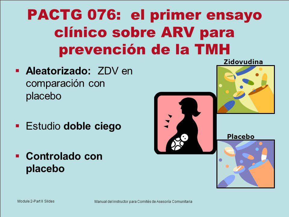 Module 2-Part II Slides Manual del instructor para Comités de Asesoría Comunitaria PACTG 076: el primer ensayo clínico sobre ARV para prevención de la