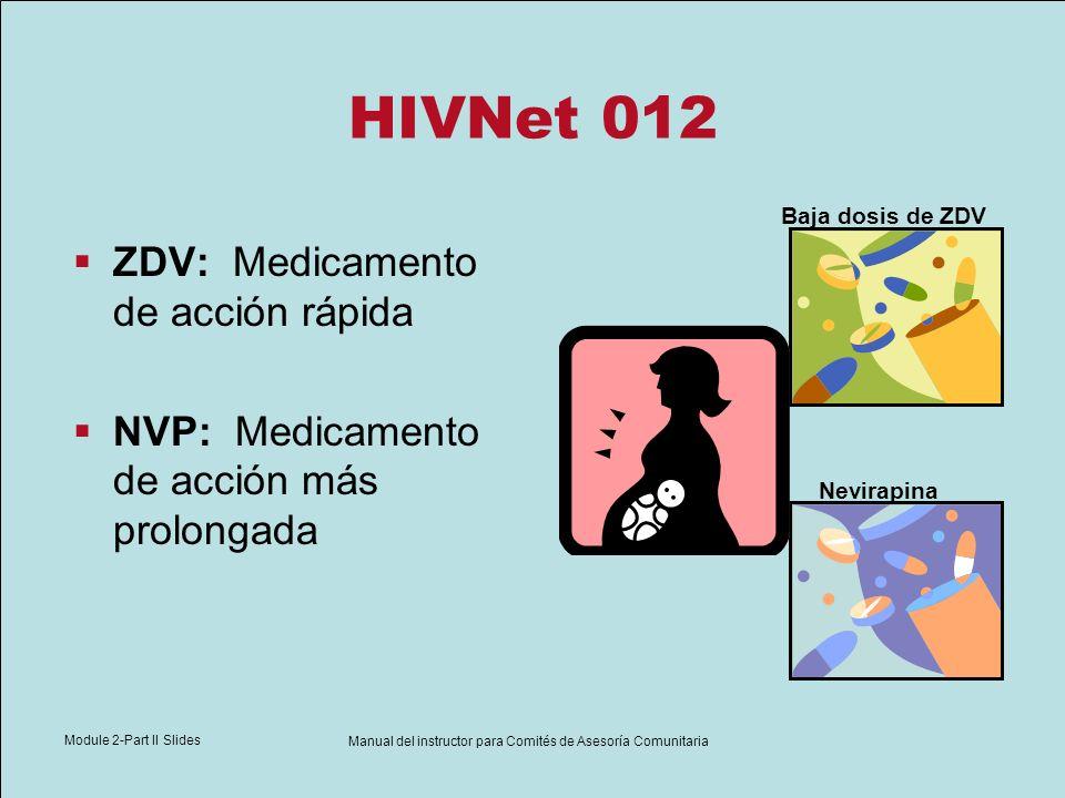 Module 2-Part II Slides Manual del instructor para Comités de Asesoría Comunitaria HIVNet 012 ZDV: Medicamento de acción rápida NVP: Medicamento de ac
