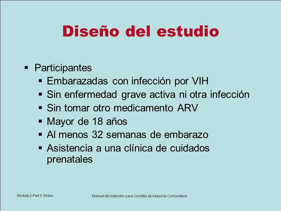 Module 2-Part II Slides Manual del instructor para Comités de Asesoría Comunitaria Diseño del estudio Participantes Embarazadas con infección por VIH