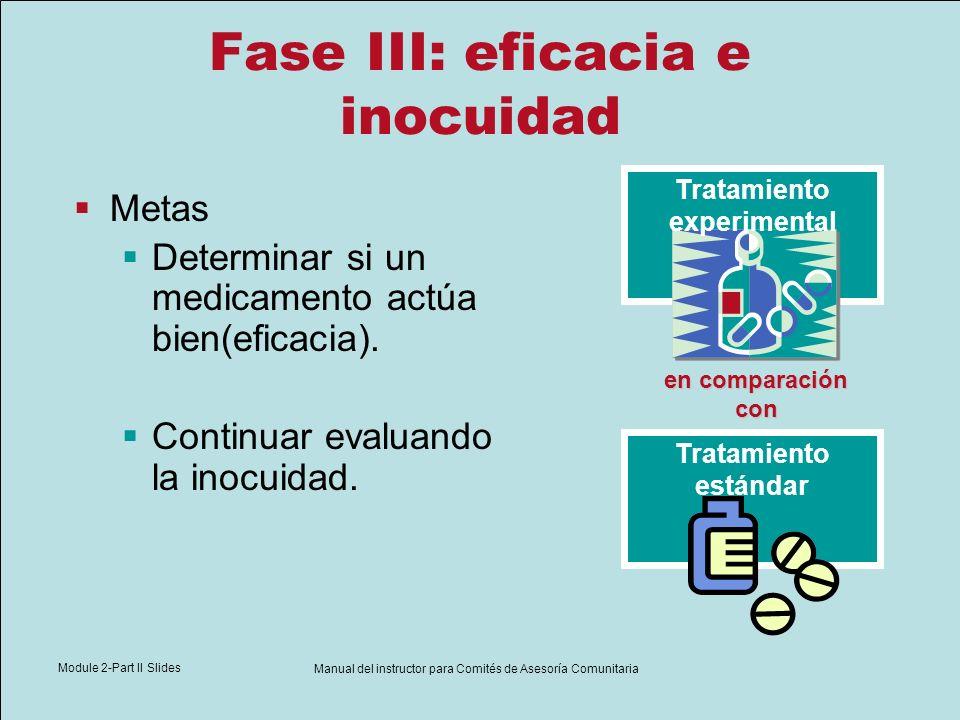 Module 2-Part II Slides Manual del instructor para Comités de Asesoría Comunitaria Fase III: eficacia e inocuidad Metas Determinar si un medicamento a