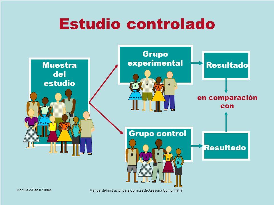 Module 2-Part II Slides Manual del instructor para Comités de Asesoría Comunitaria Estudio controlado Grupo experimental Resultado Grupo control en co