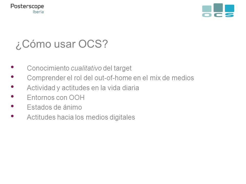 Conocimiento cualitativo del target Comprender el rol del out-of-home en el mix de medios Actividad y actitudes en la vida diaria Entornos con OOH Est