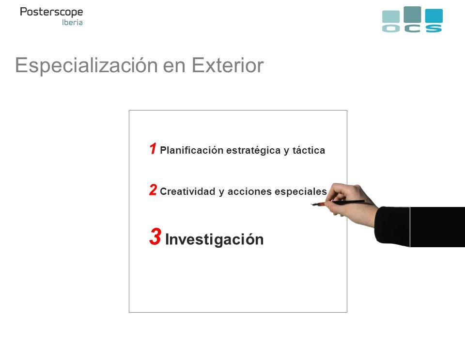 Especialización en Exterior 1 Planificación estratégica y táctica 2 Creatividad y acciones especiales 3 Investigación