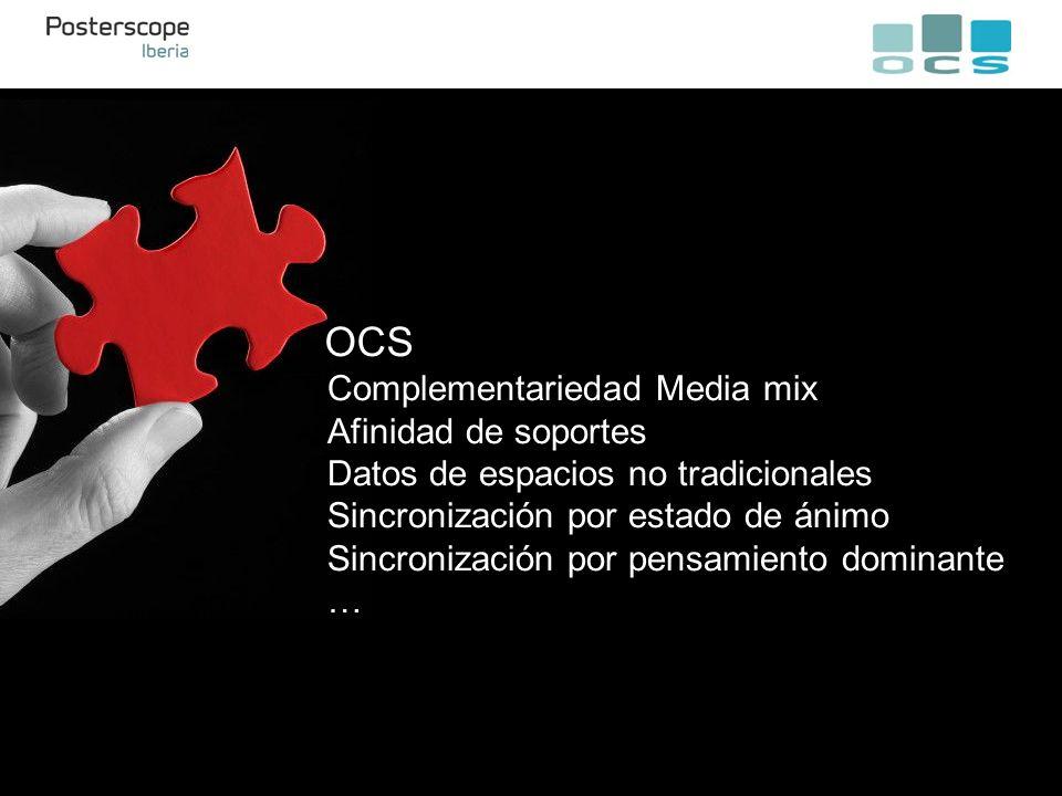 OCS Complementariedad Media mix Afinidad de soportes Datos de espacios no tradicionales Sincronización por estado de ánimo Sincronización por pensamiento dominante …