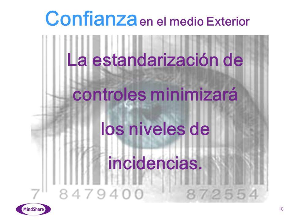 18 La estandarización de controles minimizará los niveles de incidencias. Confianza en el medio Exterior
