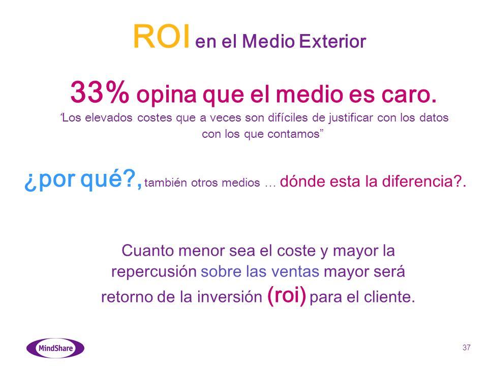 37 ¿por qué?, también otros medios … dónde esta la diferencia?. 33% opina que el medio es caro. Los elevados costes que a veces son difíciles de justi