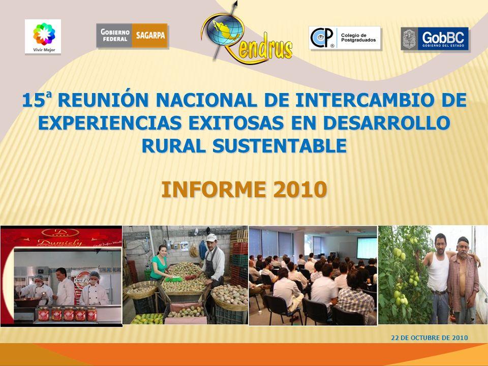 15 ª REUNIÓN NACIONAL DE INTERCAMBIO DE EXPERIENCIAS EXITOSAS EN DESARROLLO RURAL SUSTENTABLE INFORME 2010 22 DE OCTUBRE DE 2010
