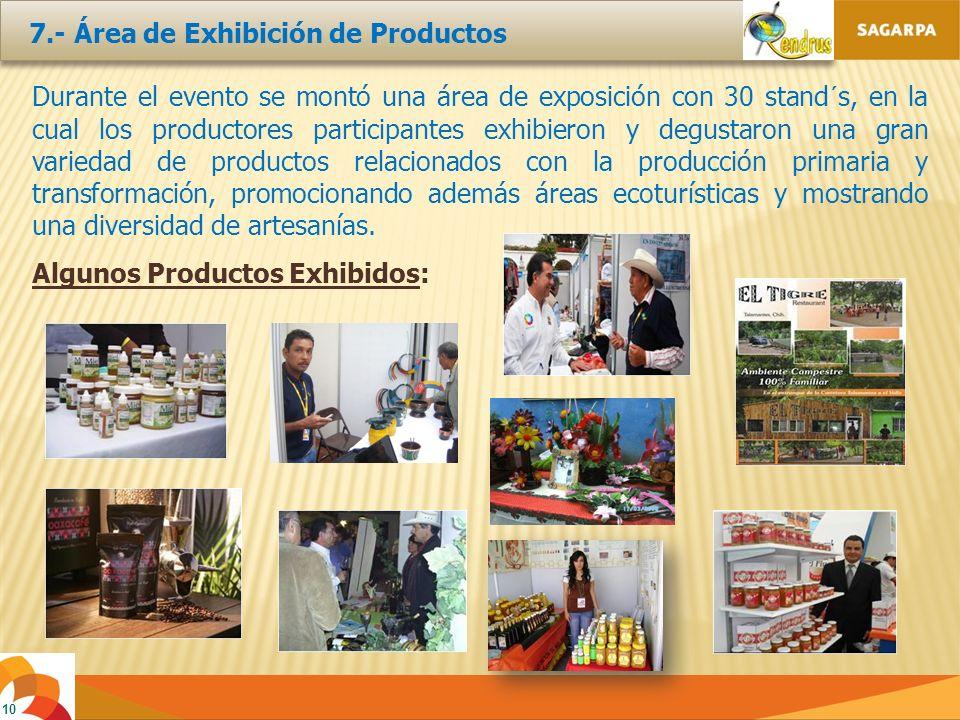 10 7.- Área de Exhibición de Productos Durante el evento se montó una área de exposición con 30 stand´s, en la cual los productores participantes exhibieron y degustaron una gran variedad de productos relacionados con la producción primaria y transformación, promocionando además áreas ecoturísticas y mostrando una diversidad de artesanías.