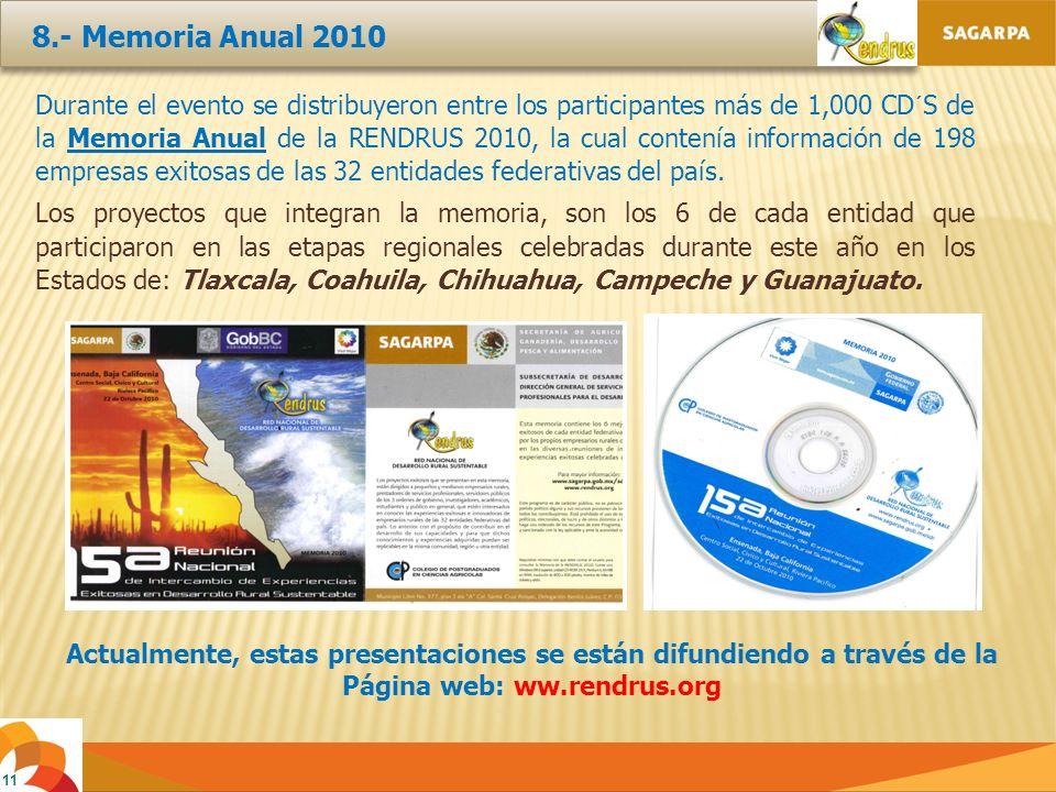 11 Durante el evento se distribuyeron entre los participantes más de 1,000 CD´S de la Memoria Anual de la RENDRUS 2010, la cual contenía información de 198 empresas exitosas de las 32 entidades federativas del país.