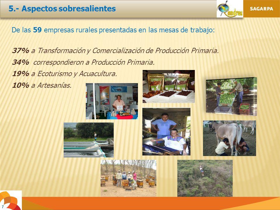 De las 59 empresas rurales presentadas en las mesas de trabajo: 37% a Transformación y Comercialización de Producción Primaria.