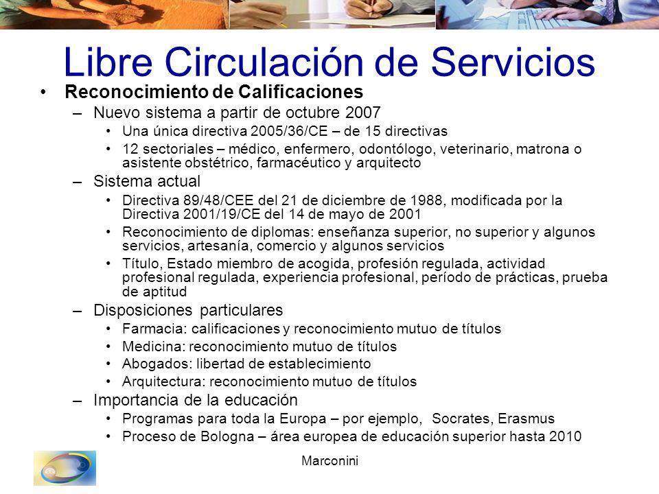 Marconini Libre Circulación de Servicios Reconocimiento de Calificaciones –Nuevo sistema a partir de octubre 2007 Una única directiva 2005/36/CE – de