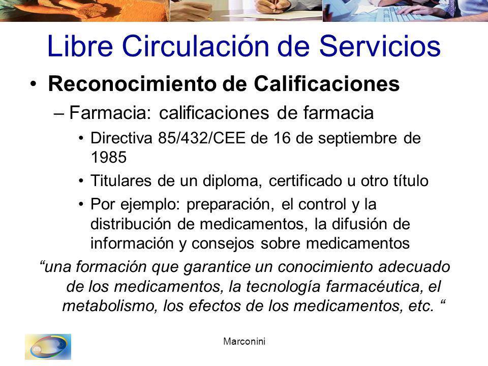 Marconini Libre Circulación de Servicios Reconocimiento de Calificaciones –Farmacia: calificaciones de farmacia Directiva 85/432/CEE de 16 de septiemb