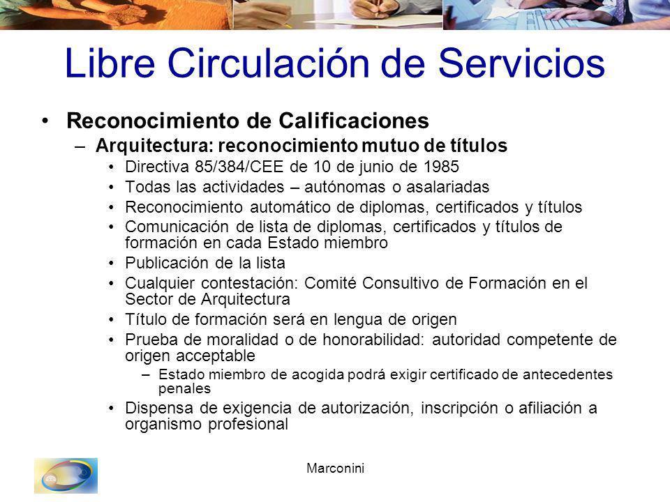 Marconini Libre Circulación de Servicios Reconocimiento de Calificaciones –Arquitectura: reconocimiento mutuo de títulos Directiva 85/384/CEE de 10 de