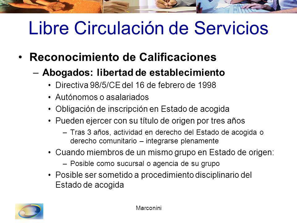 Marconini Libre Circulación de Servicios Reconocimiento de Calificaciones –Abogados: libertad de establecimiento Directiva 98/5/CE del 16 de febrero d