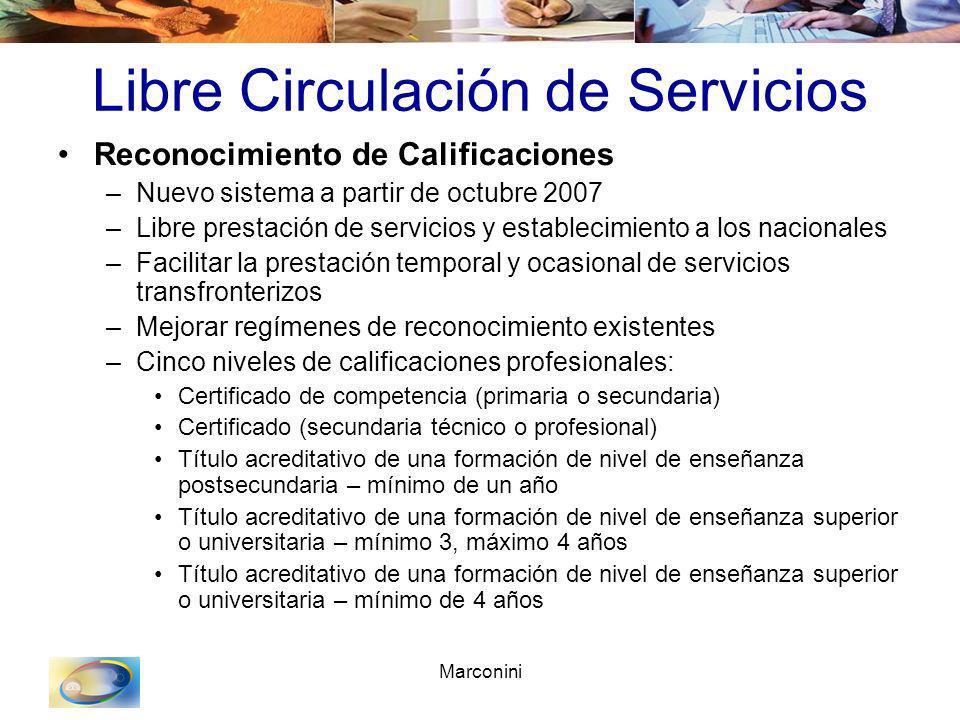 Marconini Libre Circulación de Servicios Reconocimiento de Calificaciones –Nuevo sistema a partir de octubre 2007 –Libre prestación de servicios y est