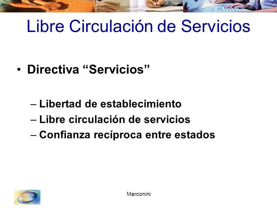 Marconini Libre Circulación de Servicios Directiva Servicios –Libertad de establecimiento –Libre circulación de servicios –Confianza recíproca entre e