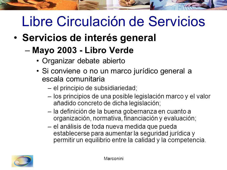 Marconini Libre Circulación de Servicios Servicios de interés general –Mayo 2003 - Libro Verde Organizar debate abierto Si conviene o no un marco jurí