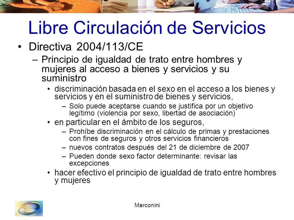 Marconini Libre Circulación de Servicios Directiva 2004/113/CE –Principio de igualdad de trato entre hombres y mujeres al acceso a bienes y servicios