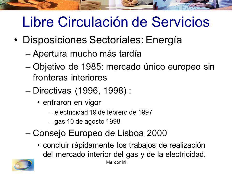 Marconini Libre Circulación de Servicios Disposiciones Sectoriales: Energía –Apertura mucho más tardía –Objetivo de 1985: mercado único europeo sin fr