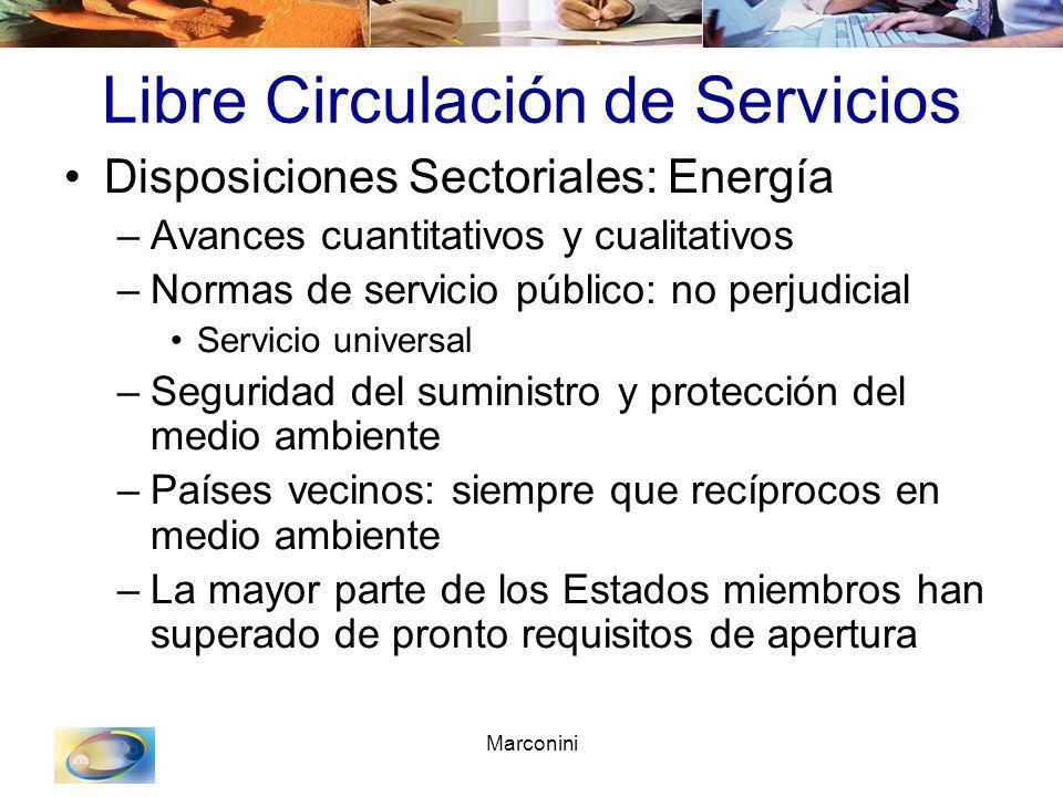 Marconini Libre Circulación de Servicios Disposiciones Sectoriales: Energía –Avances cuantitativos y cualitativos –Normas de servicio público: no perj