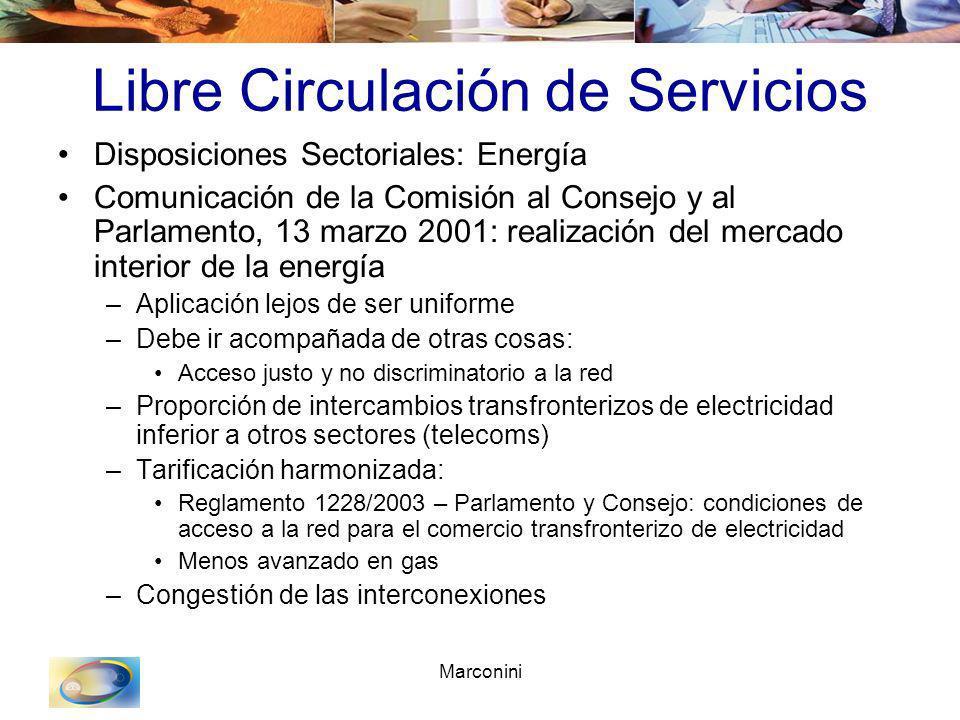 Marconini Libre Circulación de Servicios Disposiciones Sectoriales: Energía Comunicación de la Comisión al Consejo y al Parlamento, 13 marzo 2001: rea