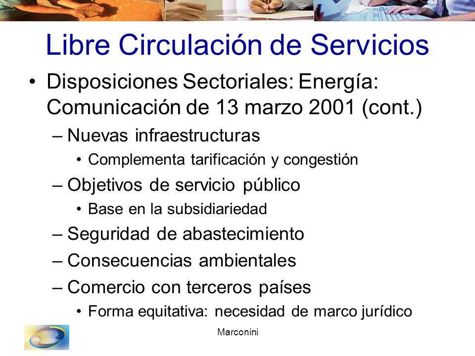 Marconini Libre Circulación de Servicios Disposiciones Sectoriales: Energía: Comunicación de 13 marzo 2001 (cont.) –Nuevas infraestructuras Complement
