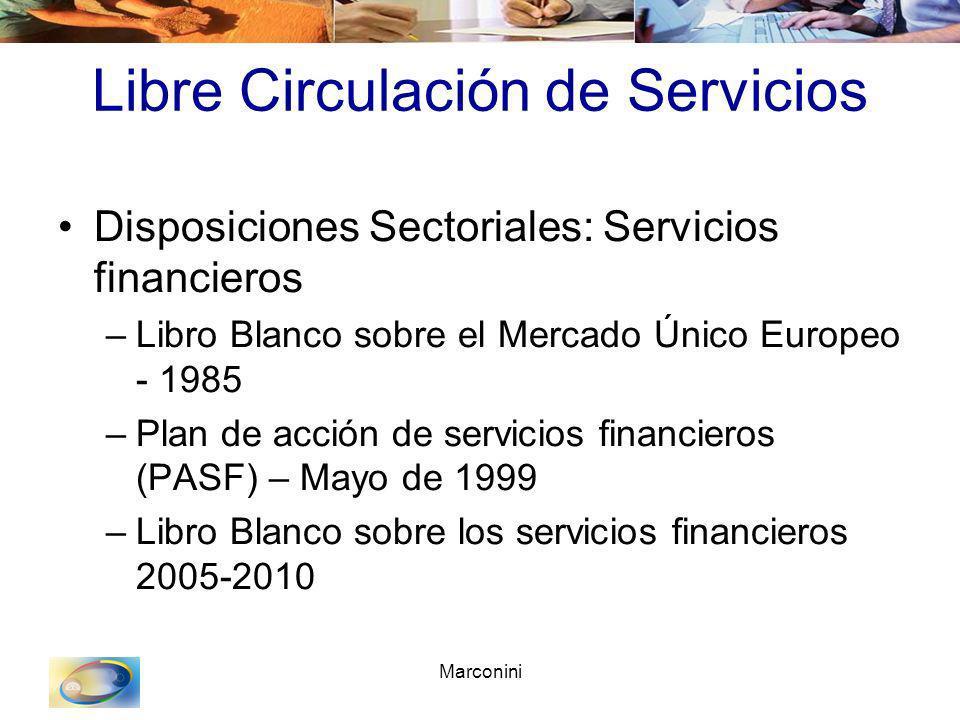 Marconini Libre Circulación de Servicios Disposiciones Sectoriales: Servicios financieros –Libro Blanco sobre el Mercado Único Europeo - 1985 –Plan de